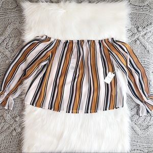 Striped mustard off the shoulder top
